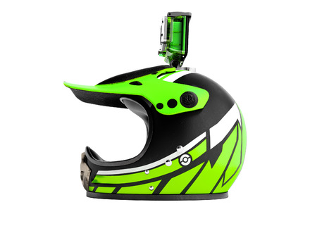 Modern green motorcycle helmet with green action camera left 3d render on white background no shadow