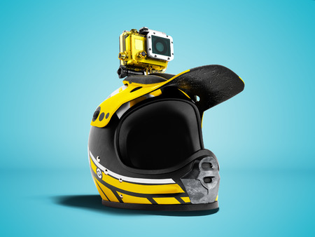 Modern yellow motorcycle helmet with yellow action camera 3d render on blue background with shadow