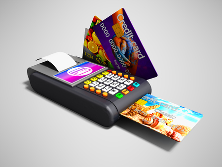 Modern Nfs payment on payment card POS-terminal with credit card inside and outside the left view 3d render on gray background with shadow