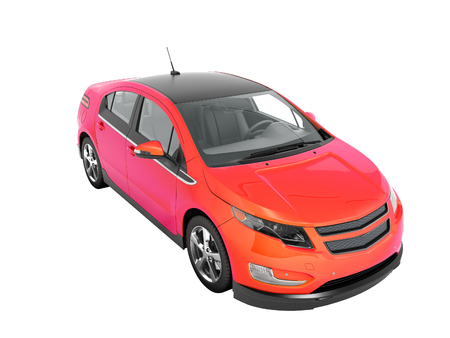 Modern electric car color gradient crimson look 3d perspective render on white background no shadow 版權商用圖片