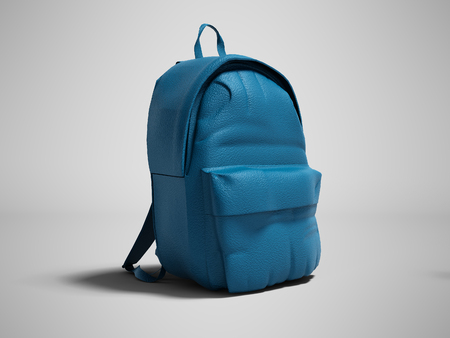 Modern blue leather backpack in school for children and teens left view 3D render on gray background with shadow