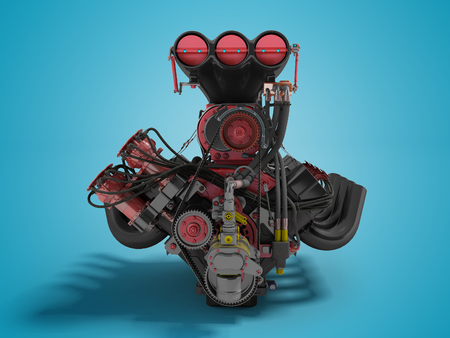 Red engine with supercharger front view 3d render on blue background with shadow