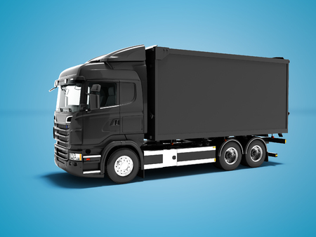 Modern black truck for transportation of goods around the city 3d render on blue background with shadow