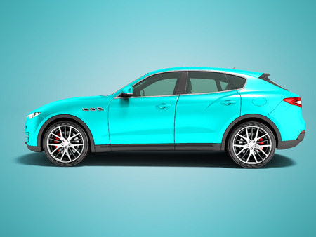Modern blue car crossover for business trips side view 3d render on blue background with shadow