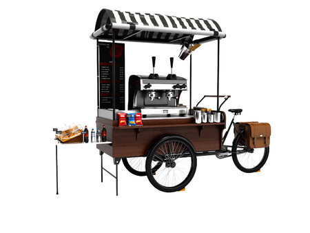 Concept bike, coffee shop on wheels 3d render on white background no shadow