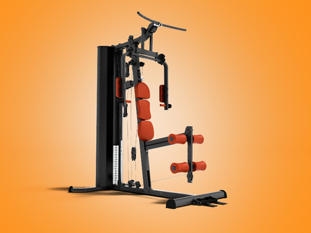 Black sport exerciser with an orange soft handrail for the legs and hands for sports training isolated 3d render on orange background with shadow