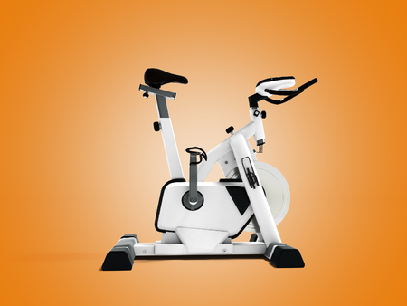 White sport bike simulator for sporty lifestyle side view 3d render on orange background with shadow Stock Photo