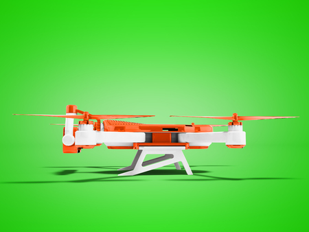 Modern orange drone side view 3d render on green background with shadow