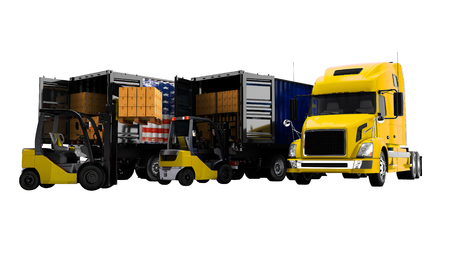 Modern concept of loading and unloading cargo from truck with paper boxes and yellow forklift with pallet, 3d render on white background no shadow Фото со стока