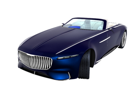 Modern blue electric car convertible perspective view 3d render on white background no shadow Stock Photo