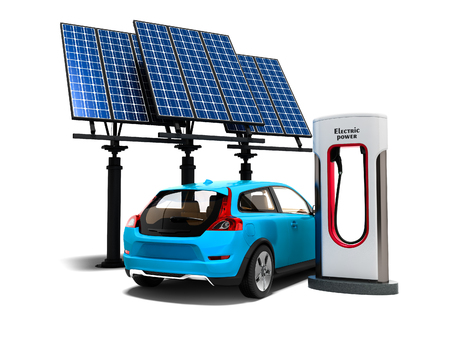 Concept modern refueling with solar panels for electric cars back view 3d render on white background with shadow