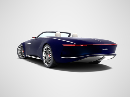 Modern blue electro car convertible rear view 3d render on gray background with shadow