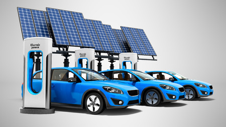 Concept electric refill for electric cars with solar panels view of 3d render on gray background with shadow Zdjęcie Seryjne
