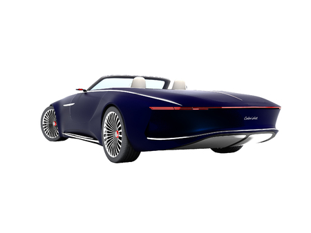Modern blue electro car convertible rear view 3d render on white background no shadow 版權商用圖片