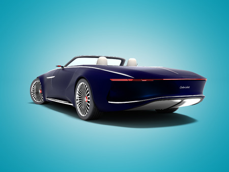 Modern blue electro car convertible rear view 3d render on blue background with shadow