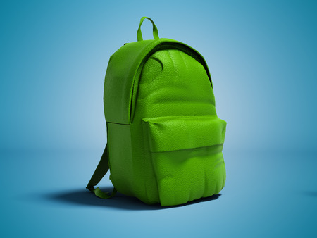 Modern green leather backpack in school for children and teens left view 3D rendering on blue background with shadow
