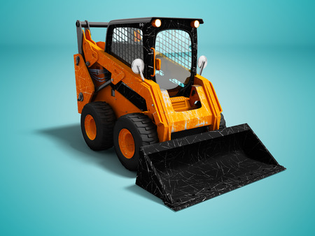 Modern orange mini loader after loading stone 3d render on blue background with shadow Stock Photo