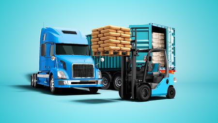 Concept moderne de déchargement de cargaison de bleu de camion avec remorque avec des matériaux de construction et un chariot élévateur orange avec palette de rendu 3d isolé sur fond bleu avec ombre