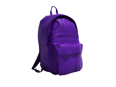 Modern purple leather backpack in school for children and teens left view 3D rendering on white background no shadow Stock Photo