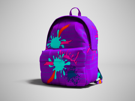 Purple school bag backpack with spots right view 3d render on gray background with shadow