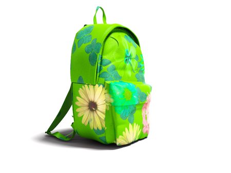 Modern green backpack in school for girl and teenager with flowers isolated 3d rendering on white background with shadow Reklamní fotografie