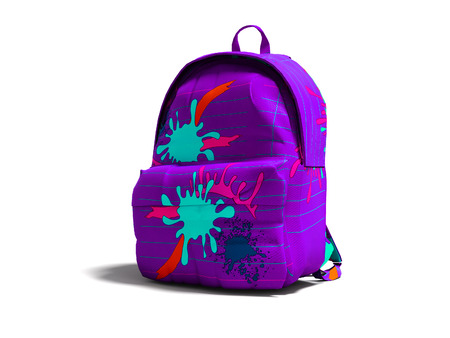 Purple school bag backpack with spots right view 3d render on white background with shadow