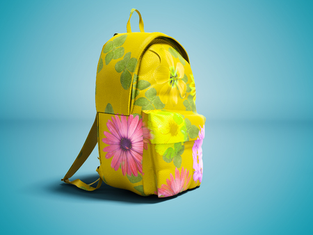 Modern yellow backpack in school for girl and teenager with flowers isolated 3d rendering on blue background with shadow