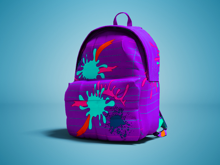Purple school bag backpack with spots right view 3d render on blue background with shadow