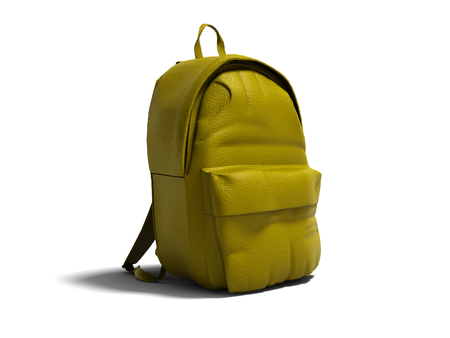 Modern yellow leather backpack in school for children and teens left view 3D rendering on white background with shadow