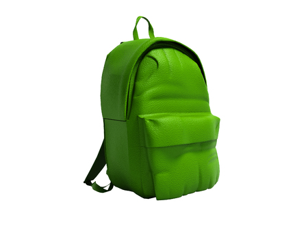 Modern green leather backpack in school for children and teens left view 3D rendering on white background no shadow