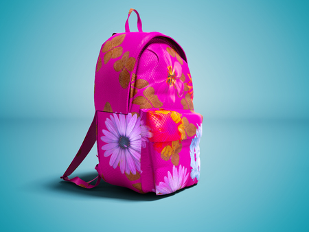 Modern pink backpack in school for girl and teenager with flowers isolated 3D render on blue background with shadow