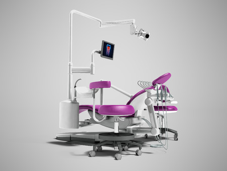Modern violet dental chair with borax with lighting and monitor for work 3d render on gray background with shadow Stock Photo