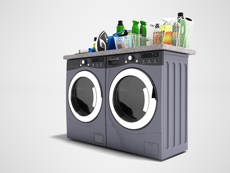 Modern washer and dryer for things 3d render on gray background with shadow