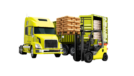 Modern concept of unloading cargo from yellow from truck with trailer with building materials and an orange forklift with pallet isolated 3d render on white background no shadow Zdjęcie Seryjne