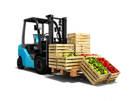 Concept moderne de récolte de pommes rouges vertes variétales et de transport d'un chariot élévateur bleu rendu 3d fond blanc avec ombre Éditoriale