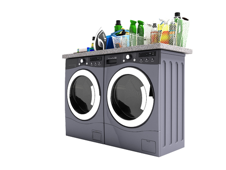 Modern washer and dryer for things 3d render on white background no shadow