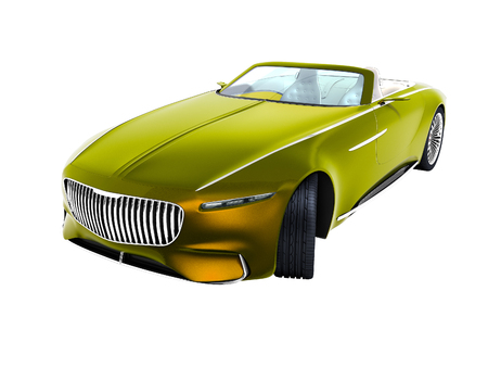 Modern yellow electric car convertible perspective view 3d render on white background no shadow