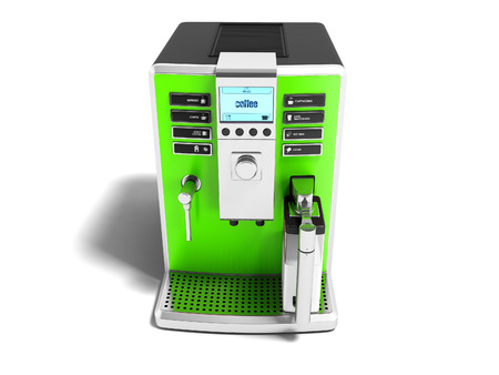 Modern green coffee machine with milk dispenser on one cup front view 3d render on white background white shadow