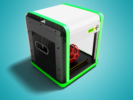 Modern white 3d printer for home use with green inserts 3D render on blue background with shadow 免版税图像