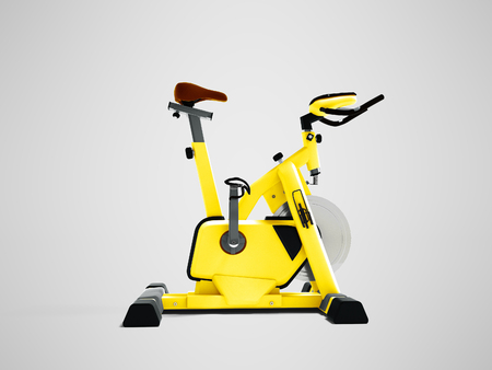 Yellow sport bike simulator for sporty lifestyle side view 3d render on gray background with shadow Stock Photo
