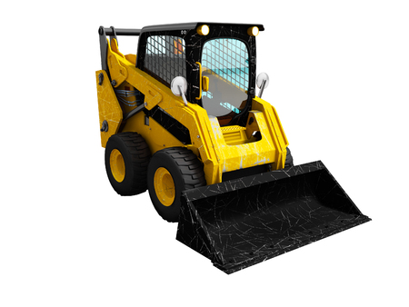Modern yellow mini loader after loading stone 3d render on white background no shadow