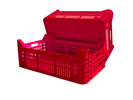 Red plastic two boxes blank rear view 3d render on white background no shadow Stock Photo