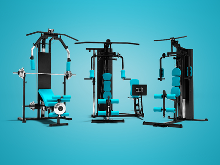 Modern set metal power sports training apparatus with blue stand-up 3d rendering on blue background with shadow