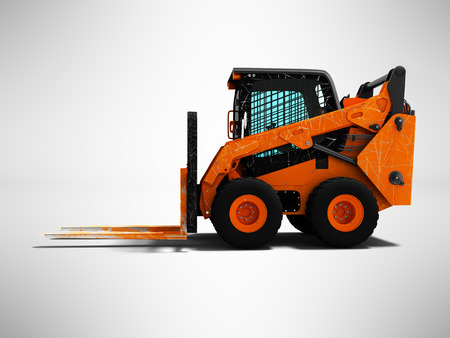 Modern orange forklift loader with scuffs on the case 3d render side view on gray background with shadow