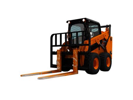 Modern orange forklift loader with scuffs on the case 3d render on white background no shadow