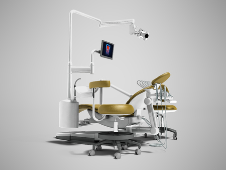Modern gold dental chair with borax with lighting and monitor for work 3d render on gray background with shadow