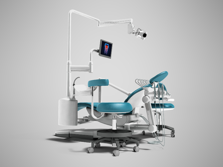 Modern blue dental chair with borax with lighting and monitor for work 3d render on gray background with shadow