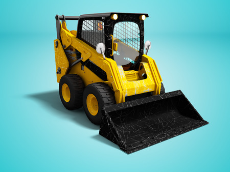 Modern yellow mini loader after loading stone 3d render on blue background with shadow