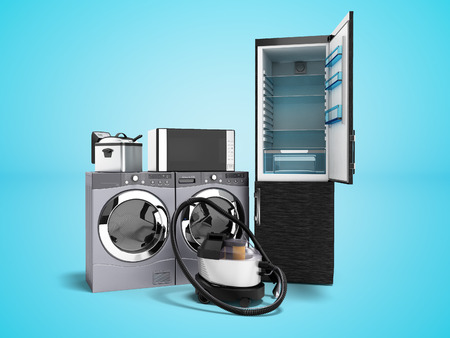 Household appliances fridge microwave washing vacuum cleaner washing machine with dryer fryer 3d render on blue background with shadow