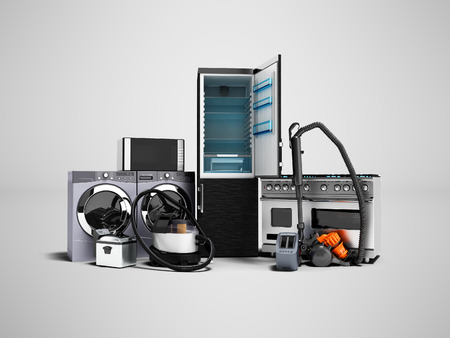 Household appliances group of vacuum cleaners refrigerator microwave washing machine washing machine gas stove 3d render on gray background with shadow 写真素材